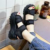 厚底涼鞋 厚底涼鞋女魔術貼夏季百搭增高搖搖鞋高跟鬆糕鞋小碼33   Cocoa