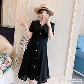 大碼洋裝~ 2020夏季新款大碼胖妹妹遮肚洋裝減齡洋氣顯瘦法式收腰過膝長裙