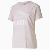 PUMA 淡粉紅 白 滿版LOGO 透氣 運動 短袖 短T 女 (布魯克林) 59624917