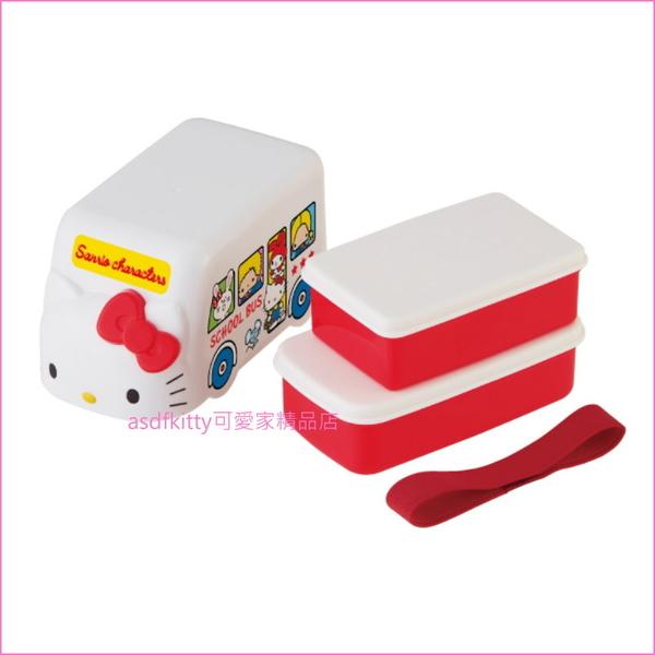 asdfkitty可愛家☆日本SKATER KITTY公車雙層便當盒-有附彈性綁繩-日本正版商品