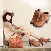 Ann'S時髦部落客-V口釦帶交叉踝靴 棕