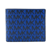 【南紡購物中心】MICHAEL KORS HARRISON浮雕皮革滿版對開短夾-藍