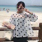 夏裝女裝韓版寬鬆波點透視長袖襯衫娃娃衫防曬衣休閒顯瘦襯衣上衣 莫妮卡小屋