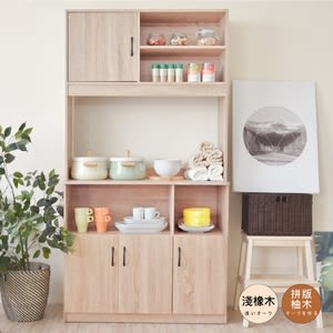 【Hopma】歐森高廚房收納櫃淺橡木