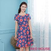 Red House 蕾赫斯-透明花朵蕾絲洋裝(共2色)