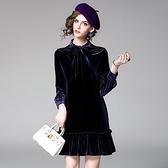 洋裝-長袖金絲絨繫帶領口純色女連身裙73of32【巴黎精品】