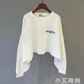 白色短款衛衣女設計感2020新款早秋薄款長袖t恤韓版寬松上衣春秋 小艾新品