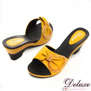 Deluxe-真皮mix水晶蝴蝶結露趾船型跟鞋-黃