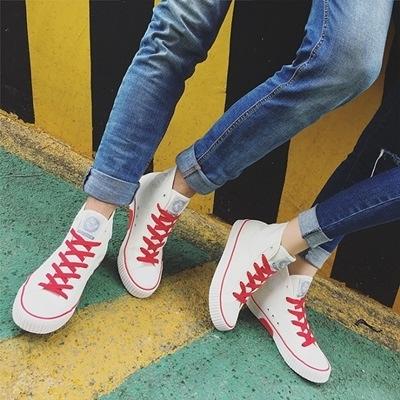 帆布鞋-情侶鞋-高筒街頭時尚經典百搭男女休閒鞋2色73no6[巴黎精品]