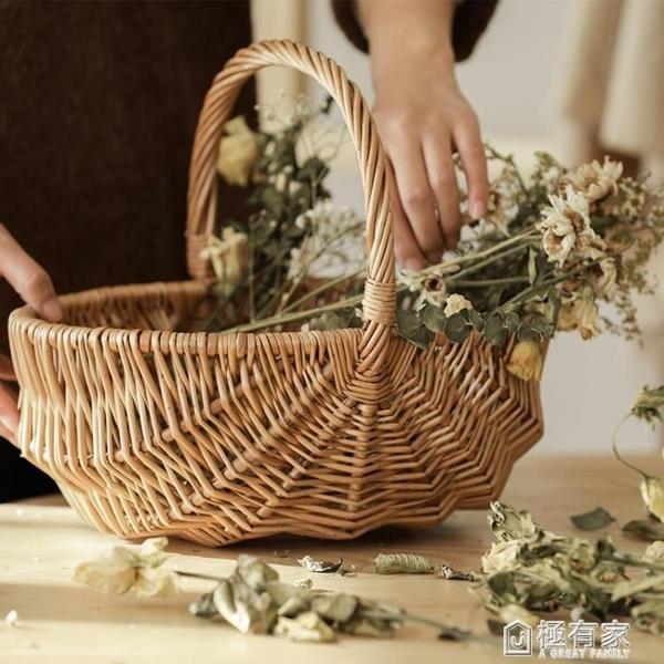 編織野餐籃子ins柳編野餐用品竹編筐戶外日式手工柳編水果手提籃 ATF 極有家