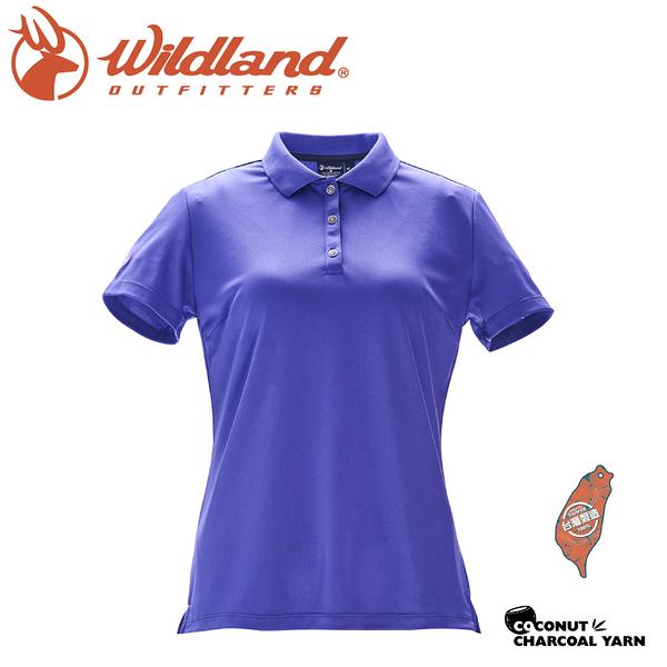 【Wildland 荒野 女 椰炭紗YOKE領抗菌上衣《紫羅蘭》】0A71657/圓領T/運動衣/t恤/抗UV