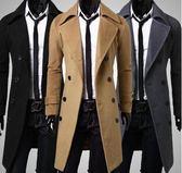冬天男士大衣修身帥氣超長風衣 男土尼子加棉加厚中長版外套  圖拉斯3C百貨