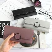 全館83折 2018時尚日韓版長款錢包新款女士搭扣皮夾可愛手拿包潮錢夾手機包
