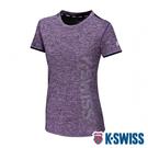 K-SWISS Mesh Print Logo Tee排汗T恤-女-紫