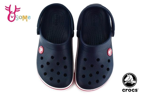 Crocs卡駱馳 洞洞鞋 中小童 大童 經典LOGO造型 園丁鞋 防水布希鞋 A1700#深藍◆OSOME奧森鞋業
