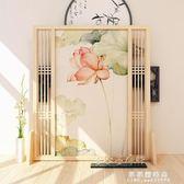 屏風 新中式屏風隔斷客廳實木裝飾入戶玄關行動半透明紗鏤空簡易座屏 果果輕時尚NMS
