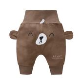 休閒高腰護肚哈倫褲 棕色小熊 褲子 童裝