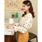 百貨專櫃女裝 微立領配滿版點點 拋袖點綴整體造型 輕薄質料透氣舒適