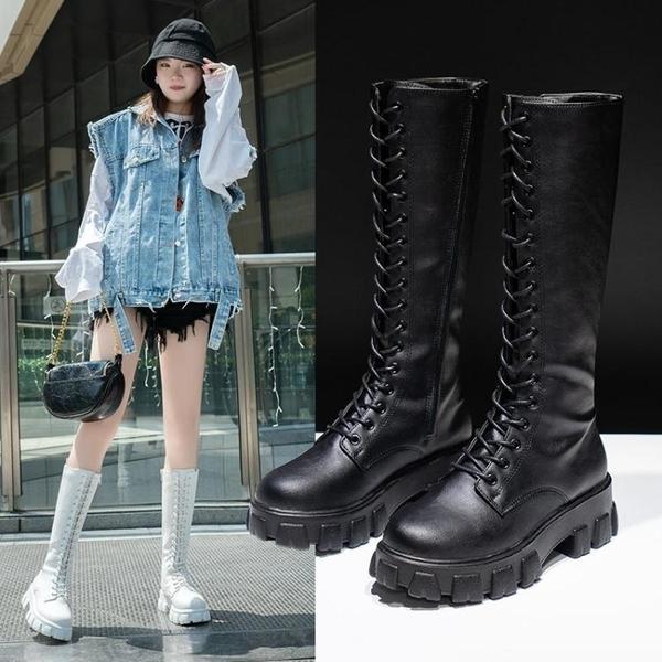 快速出貨 長靴長靴女不過膝新款長筒靴秋冬季厚底時尚馬丁靴子長靴靴潮