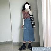 牛仔半身裙 韓版ins減齡高腰牛仔半身裙女大碼學生顯瘦百搭中長款包 快速出貨