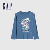 Gap男童 全棉創意印花圓領長袖T恤 664152-藍色