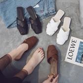半拖鞋女2020網紅拖鞋女韓版外穿時尚社會平底鞋百搭一腳蹬半拖鞋女潮交換禮物