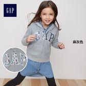 Gap女童 logo兒童連帽休閒外套 大童加絨運動衫 334767-麻灰色
