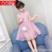 女童夏裝連身裙2018新款女孩公主裙夏季兒童洋氣蓬蓬紗裙子3-12歲 美芭