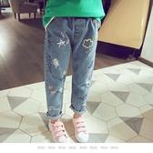 【大童】女童牛仔褲。ROUROU童裝。春秋女童大中小童塗鴉牛仔褲 0212-231
