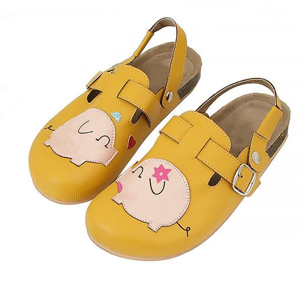 【Jingle】粉紅小豬前包後空軟木休閒鞋(芥末黃大人款)