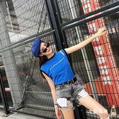 降價兩天-無袖T恤女無袖t恤女夏寬鬆正韓學生百搭bf印花街頭2018