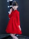兒童禮服 連衣裙春加絨兒童洋氣裙子秋裝長袖女孩公主裙紅色禮服冬裙【快速出貨八折鉅惠】