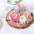 永生花擺飾,樹酯公仔,獨角獸(不包含木片與花材)