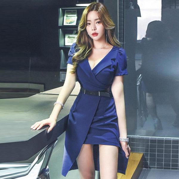 VK旗艦店 韓國風深V修身不規則包臀裙氣質性感低胸顯瘦短袖洋裝