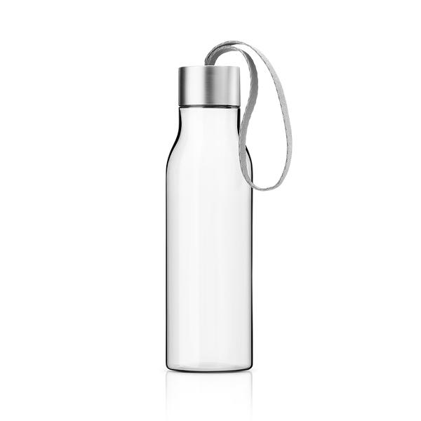 丹麥 Eva Solo Drinking Bottle 500cc 輕巧 透明 隨行冷水瓶(霧銀蓋 - 海豚灰色緞帶)