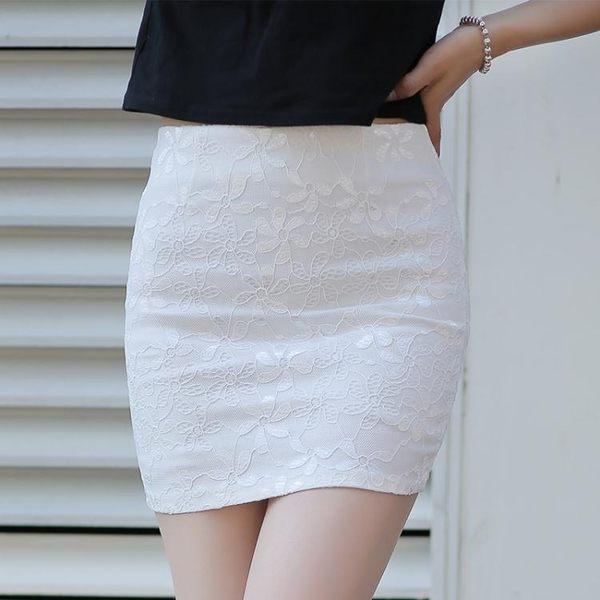 2018夏季一步裙半裙蕾絲半身裙包臀裙女高腰修身職業短裙彈力包裙 麻洋