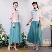 短袖裙裝 民國風文藝小清新復古刺繡改良漢服連身裙民族風套裝