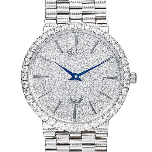 Ogival瑞士愛其華  尊寵滿天星石英腕錶(經典銀38mm)
