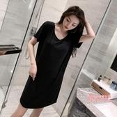 睡裙 女士夏季黑色性感薄款棉質睡衣短袖學生可愛夏天家居服 3色