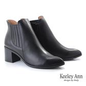 ★2019秋冬★Keeley Ann極簡魅力 基本款尖頭鬆緊粗跟短靴(黑色)