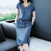 牛仔洋裝 遮肚子顯瘦牛仔洋裝女夏2020新款時尚短袖V領系帶寬鬆休閒裙子