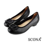 SCONA 全真皮 簡約舒適方釦跟鞋 黑色 22335-1