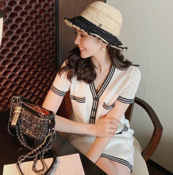 VK旗艦店 韓國風名媛優雅針織性感條紋撞色短袖洋裝