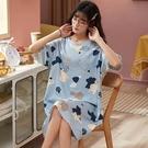 藍色貓咪印花家居服洋裝-大尺碼 獨具衣格 J3711
