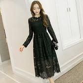 中大尺碼~甜美圓領長袖美洋裝(XL~3XL)