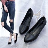 皮鞋矮跟圓頭粗跟上班高跟鞋女士中跟2-3-5厘米黑色職業工作單鞋