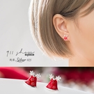 Lozenge.925純銀聖誕帽麋鹿角穿針式耳環【s291】*911 SHOP*