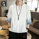 夏季短袖t恤男士復古唐裝亞麻刺繡中國風改良漢服佛系V領薄款上衣