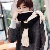 圍巾男秋冬季日韓百搭拼色圍巾長款保暖圍脖簡約潮流男士