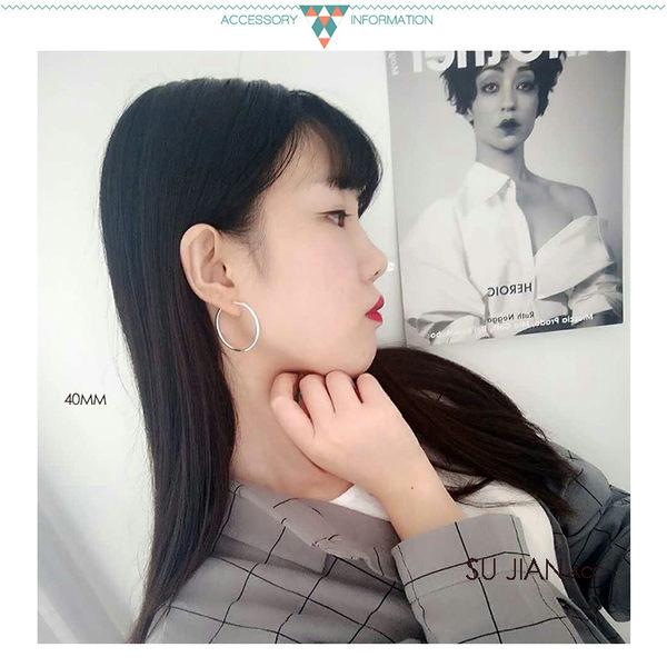 素簡手作《OCE031》圓圈耳環 夾式耳環 圓圈式耳夾 無耳洞耳環 大耳環 圈圈耳夾  / 無耳洞 / 單邊售